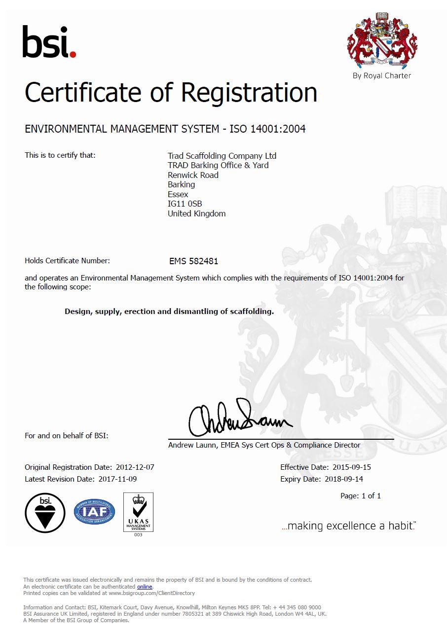 ISO 14001:2004 – ENVIRONMENTAL MANAGEMENT