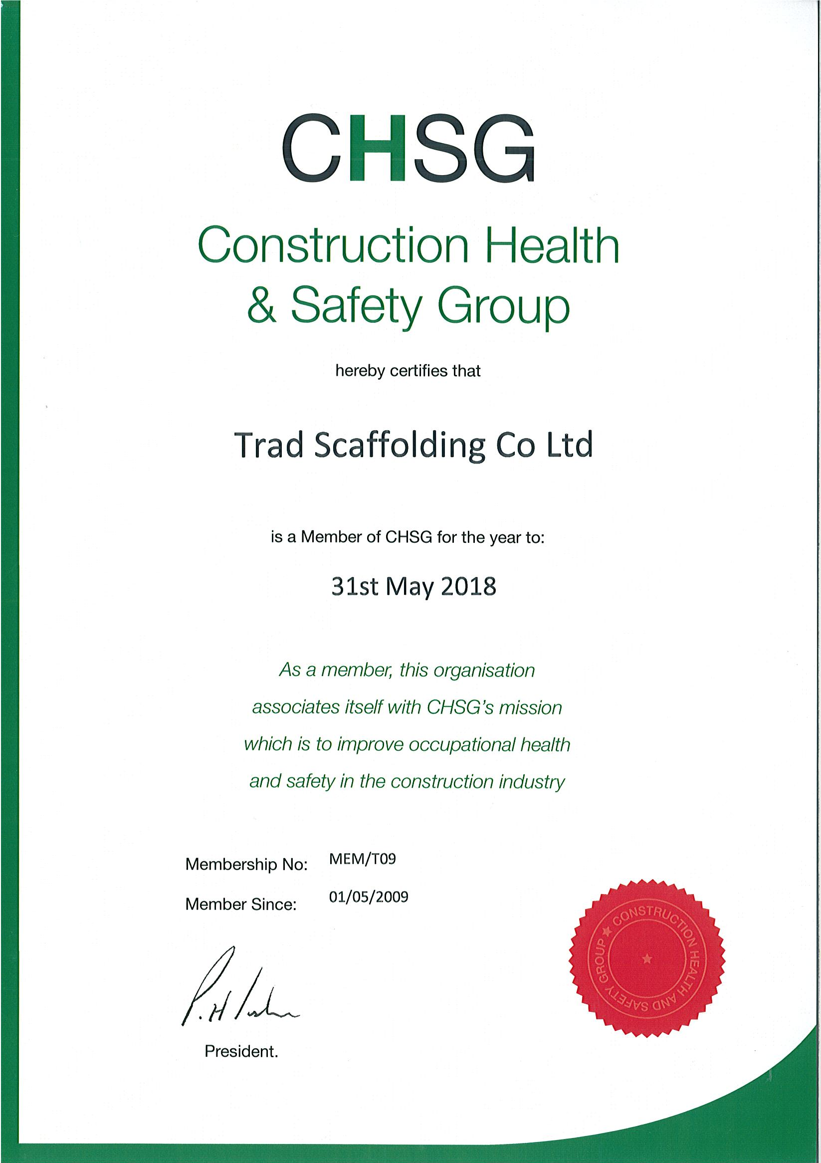 Construction health and safety group (CHSG)