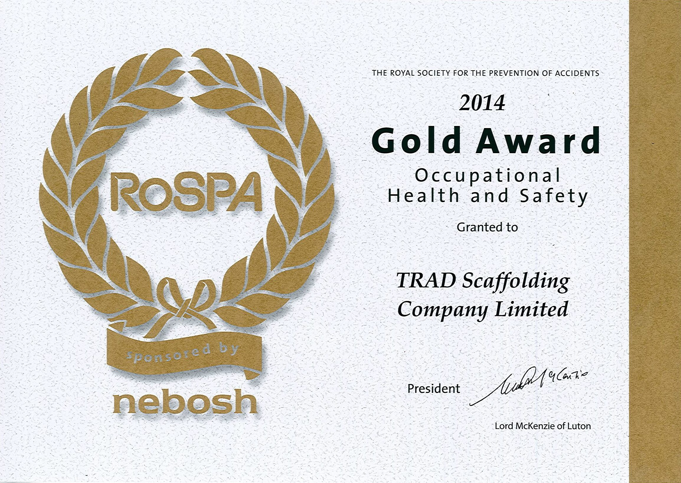 ROSPA Gold Award Occupational Health & Safety