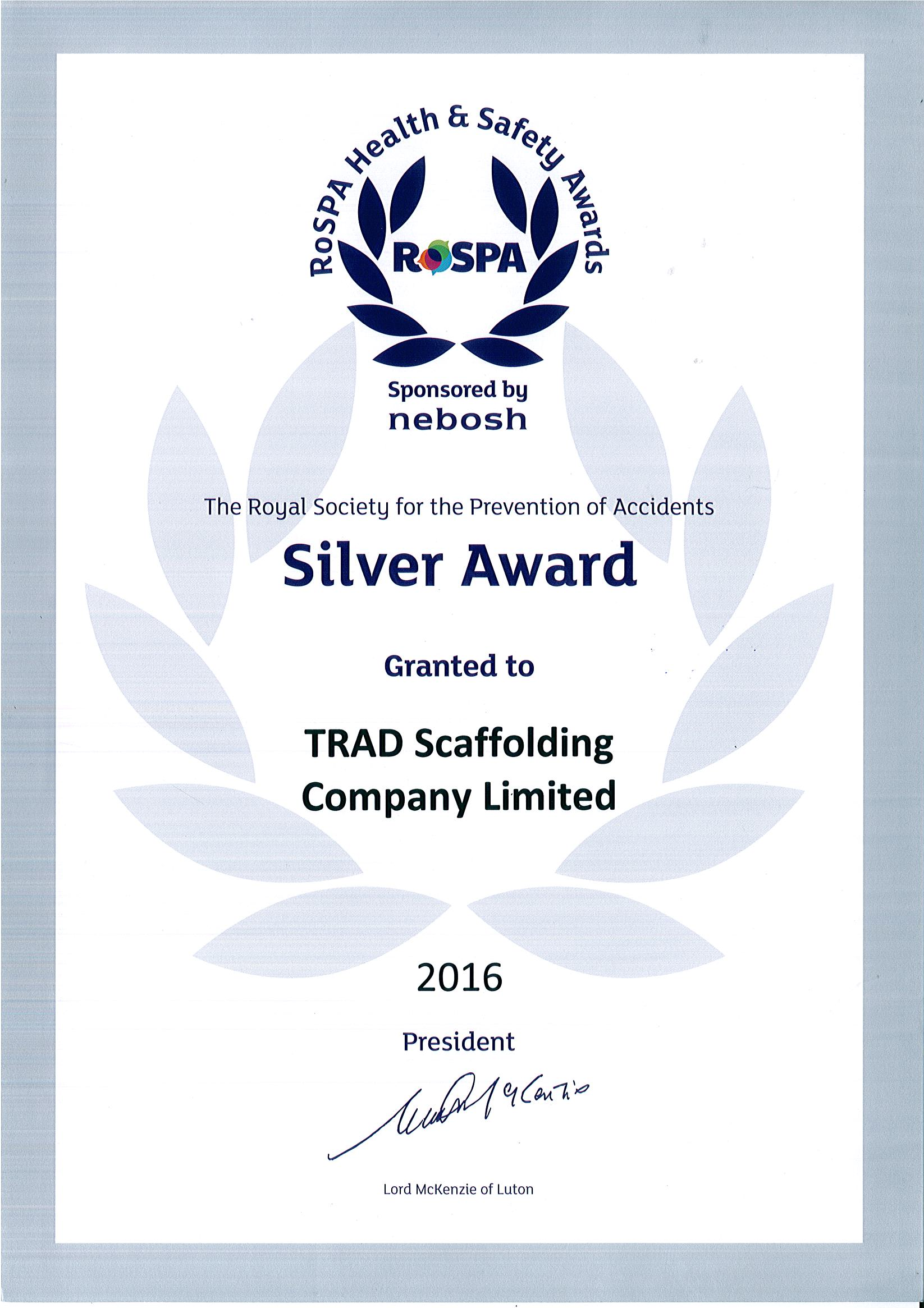 ROSPA Silver Award for Health & Safety